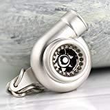 Creative Spinning Turbo Schlüsselanhänger Fashion Auto Teil Modell Auto Fan 's Favorite Turbine Turbolader Schlüsselanhänger Ring Schlüsselanhänger (matt silber)