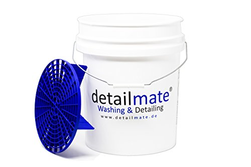 detailmate GritGUARD US Gallonen Wasch Eimer 5 GAL (ca.20 Liter) weiß, GritGUARD Eimer Einsatz blau GRIT Guard Wash Bucket 5 Gallon Verstärkt, Extra Dicke Wandung, für Deckel Gamma Seal LID geeignet
