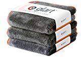 Glart 443TP Premium Flausch 3er Set Mikrofasertücher, ultraweich für perfekte Lackpflege, anthrazit mit oranger Kante 40 x 40 cm