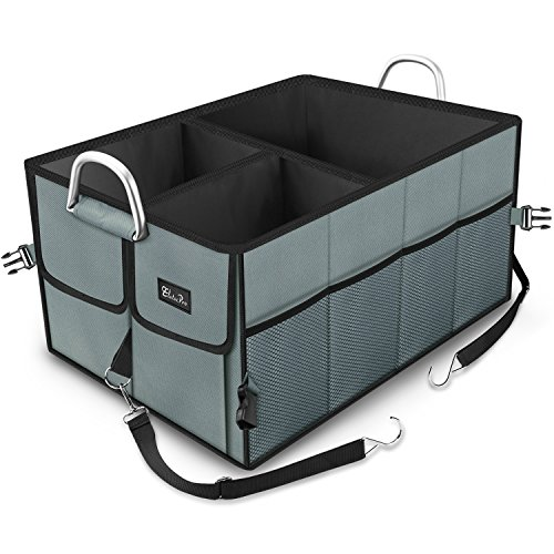 Kofferraumtasche, EletecPro Auto Kofferraum Organizer mit Klett Autotasche Organizer aus Polyester 2-in-1 Faltbare Vielen Fächern Wasserdicht